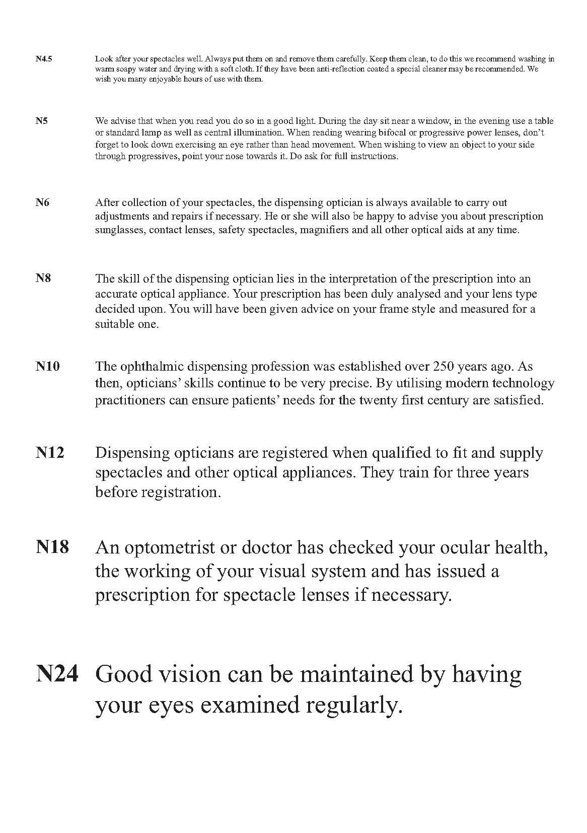 ABDO Near Vision Test Chart